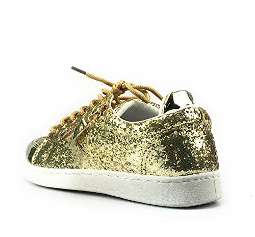 Forever Link Damen Peggy 44 Glitter Metallic gesteppte Schnürschuhe Low Top Fashion Sneaker Gold - 49