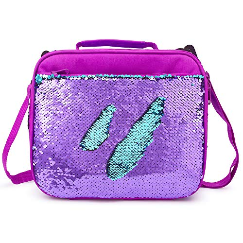 (Sequin Lunch Box for Girls Flip Durable Thermal Reusable Lunch Tote Glitter Insulated School Lunch Bag (Purple))