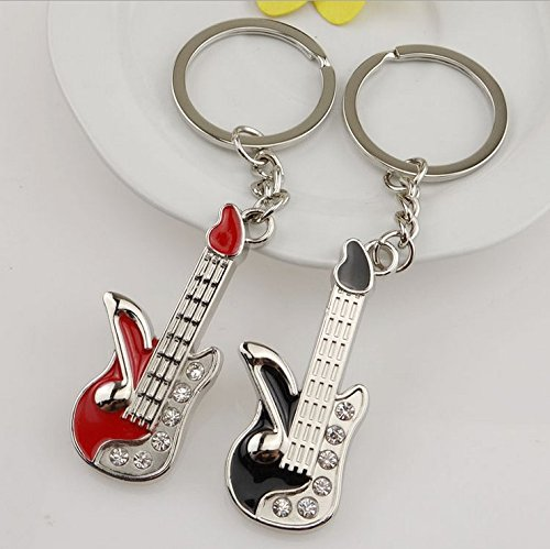 Brand new classic wine red and black guitar pendant guitar keychain guitar guitar small gift diamond jewelry 2pcs