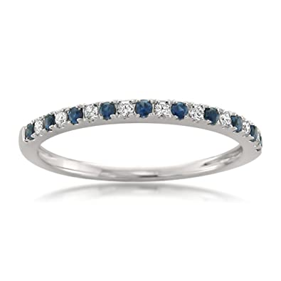 14k White Gold Round Diamond Blue Sapphire Micro Pave Bridal Wedding Band Ring