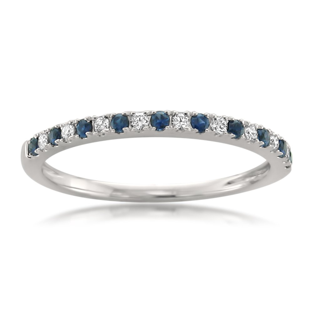 14k White Gold Round Diamond & Blue Sapphire Micro-Pave Bridal Wedding Band Ring (1/4 cttw, H-I, VS2-SI1), Size 7