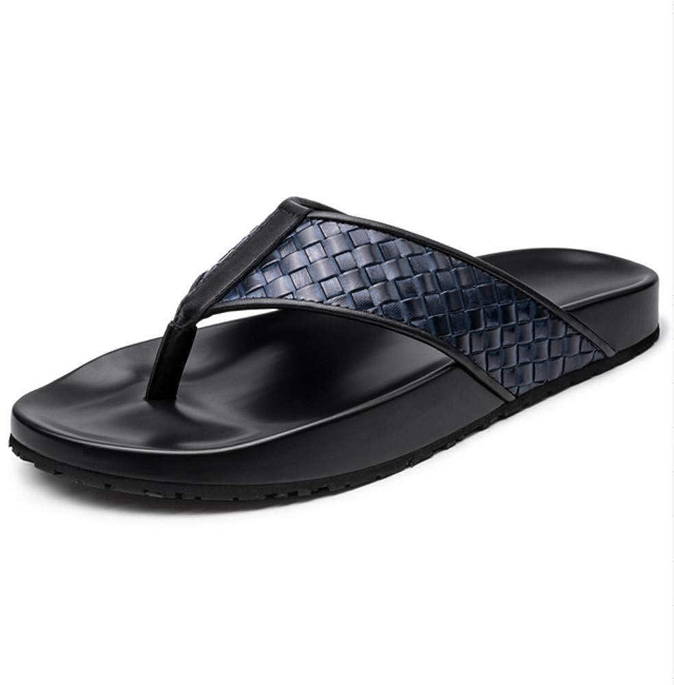 Tongs Homme Chaussures De Plages Chaussures Chaussures Sandales Et Pantoufles été Hommes épais Sandales en Cuir Hommes Cuir Décontracté Tissage Tongs Hommes  qualité pas cher et top