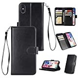 Shinyzone iPhone XR 6.1 inch Wallet Case with 9 Card Slots,Luxury Premium Synthetic Leather Book Style Stand Cover with Wrist Strap and Magnetic Closure Pretective Cover-Black