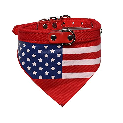 Adjustable Pet Collar Dog Cat Neckerchief Scarf with American Flag Pattern for Small Medium or Large Dog