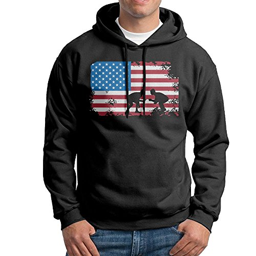 ROUND-2 American Flag Wrestling Mens Cool Hooded Sweater | Without Pocket Black by ROUND-2