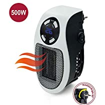 Mini Plug-in Heater Fan, Portable Electric Air Heater 500W, Black, Office, Home, Hotel, As Seen On TV
