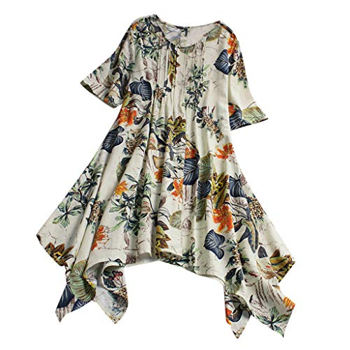 Respctful✿Casual Womens V-Neck Loose Irregular Hem Summer Chiffon Dress Floral Pleated Swing Dress Yellow