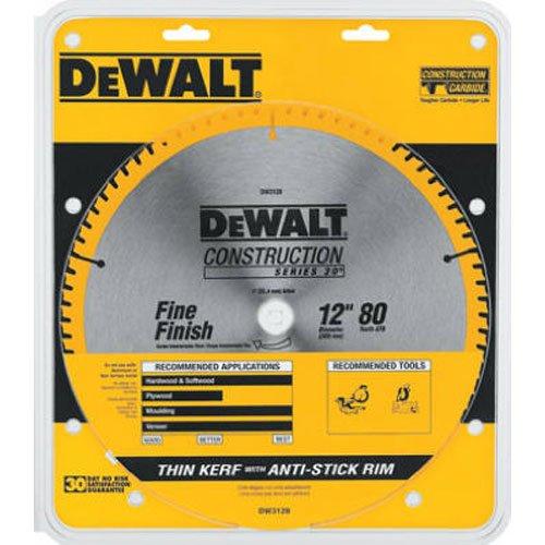 DEWALT DW3128 Series 20 12-Inch 80 Tooth ATB Thin Kerf Crosscutting Miter Saw Blade with 1-Inch Arbor by DEWALT
