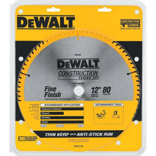 028874031289 - DEWALT DW3128 Series 20 12-Inch 80 Tooth ATB Thin Kerf Crosscutting Miter Saw Blade with 1-Inch Arbor carousel main 0