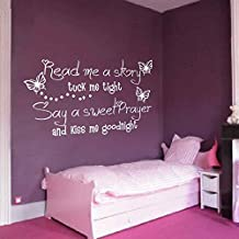 """BATTOO Read me a Story Tuck me in Tight Say a sweet Prayer and Kiss me Goodnight with Butterflies - Kids Room Wall Decal Girls Wall Quotes Decal(Dark Brown, 18""""h x34""""w)"""