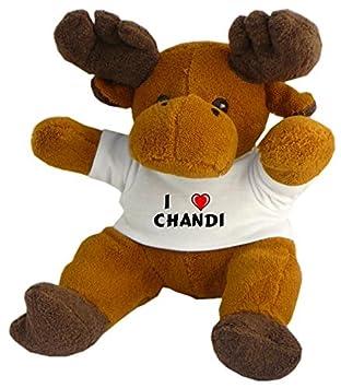 Reno de peluche (Rudolf) con Amo Chandi en la camiseta (nombre de pila