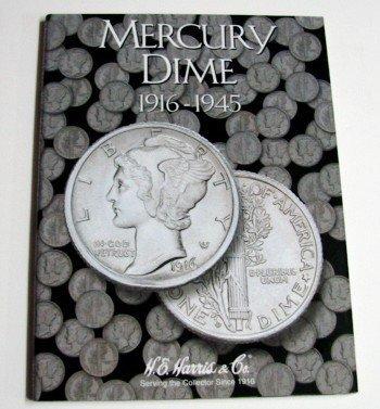 Mercury Dime 1916-1945 Cardboard Coin Folder