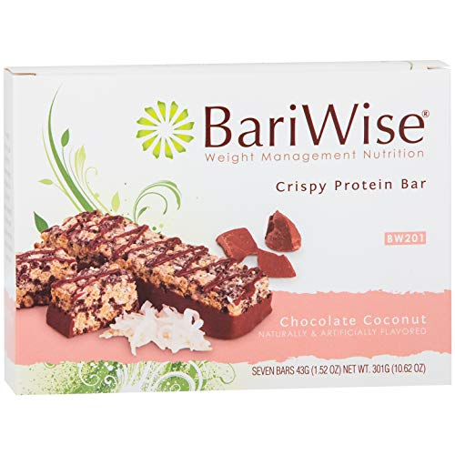BariWise Crispy Protein Bar - Chocolate Coconut (7ct), High Protein Bars, Trans Fat Free, Aspartame Free