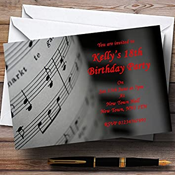 Piano y Música Negro Rojo personalizado invitaciones de fiesta
