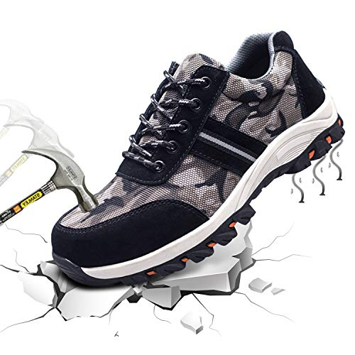 Angbater Work Shoes for Men and Women,Steel Toe Safety Work Sneakers Lightweight Breathable Industrial Construction Protect Shoes Camouflage Black (Best Work Sneakers 2019)