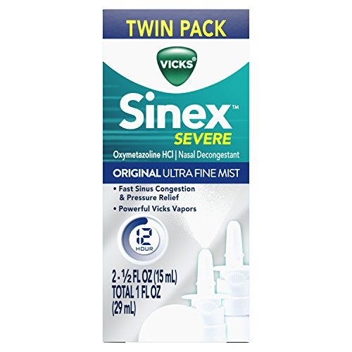 Vicks Sinex Severe Original Ultra Fine Mist Nasal Spray Decongestant for Fast Relief of Cold and Allergy Congestion, Twin Pack, 2 x 0.5 fl oz
