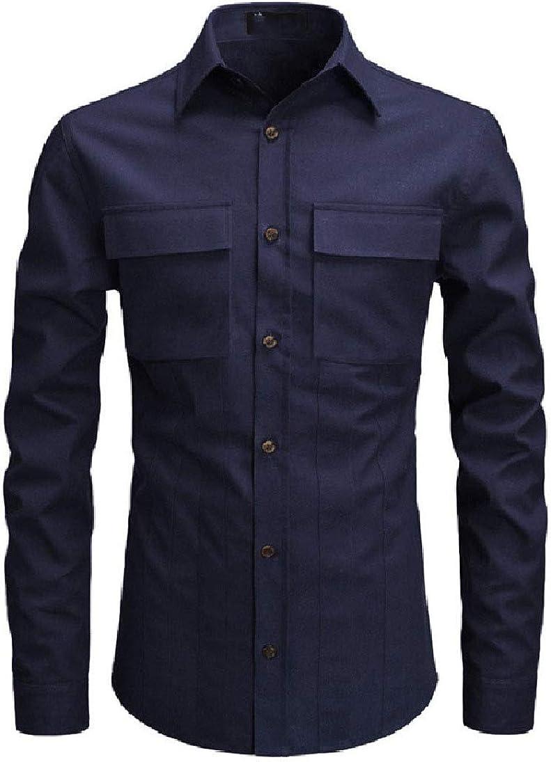 Zimaes-Men Pockets Long-Sleeve Turn Down Collar Solid Longshirt