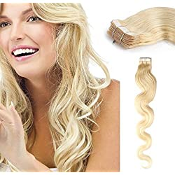Sales! Romantic Angels 20pcsx22'' Wavy Tape in Skin Weft Human Hair Extensions Blonde#613