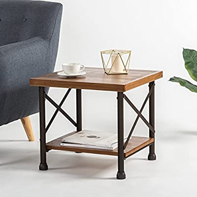 Zinus Industrial Style Side Table - Treated pine wood with durable steel legs Pairs with the Zinus Industrial Style Coffee Table Assembles easily in minutes - living-room-furniture, living-room, end-tables - 51VISulq02L. SS400  -