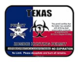 Texas State Zombie Hunting Permit License Vinyl Sticker Decal