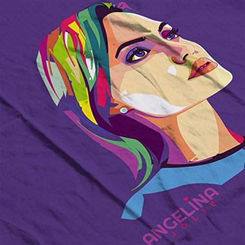 Geometric Celebrity Angelina Jolie Women's Sweatshirt Purple