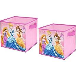 Disney Storage Cube Pink Bin Storage Organizer 2 Pack Cinderella Collapsible Kids Handles Rapunzel Organize Belle Pop Up Girls Clothes Sturdy Bedroom Decor Books Laundry Toys