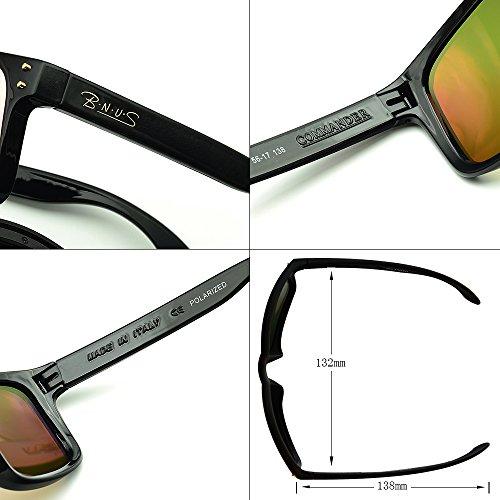 5e7be5ed1a BNUS sunglasses for men and women wayfarer polarized mirrored glass lenses ( Frame  Black ...