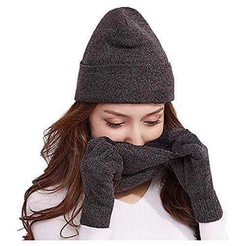 Knit Beanie Touch Screen Gloves + Hat + Scarf,Unisex 3 PCS Set Winter Warm Set For Men Women Children(Grey)