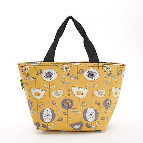 Eco Chic Lunch Insulated Cool Bag//Cooler Bag//Picnic Bag//Packed Lunch Bag 1950s Flowers Grey