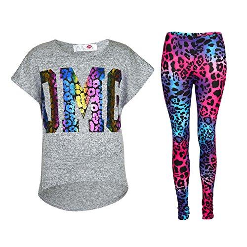 Kids Girls OMG Print T Shirt Top & Wet Look Leopard Legging Outfit Set 7-13 -
