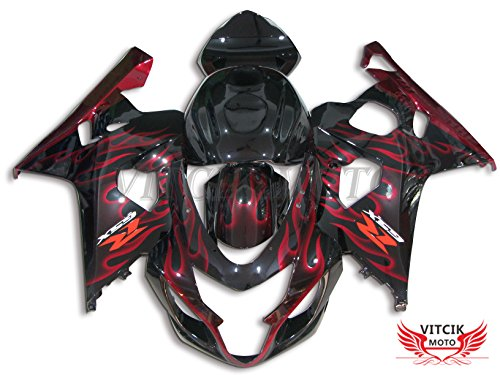 VITCIK (Fairing Kits Fit for Suzuki GSX-R750 GSX-R600 K4 2004 2005 GSXR 600 750 K4 04 05) Plastic ABS Injection Mold Complete Motorcycle Body Aftermarket Bodywork Frame (Red & Black) A001