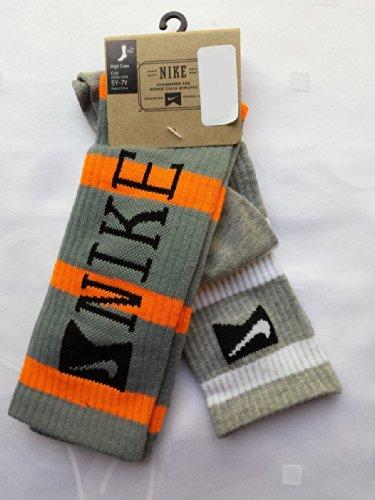 Nike 2 Pairs/Pack High Crew Socks, Youth, Grey/Orange/Whi...