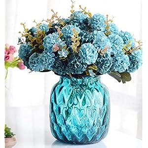 "Felice Arts 3 Bundles 12"" Artificial Silk Hydrangea Flower Fake Silk Bouquet Flower for Home Wedding Decro,10 Heads Per Bundle 52"