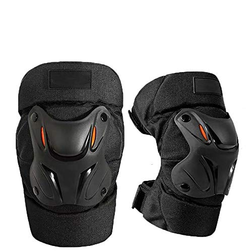 WRLFLY Motorcycle Knee Pads Adjustable Long Leg Suit Slip Protection Protective Pedal Mountain Bike - Thick Sponge Black 2Pcs