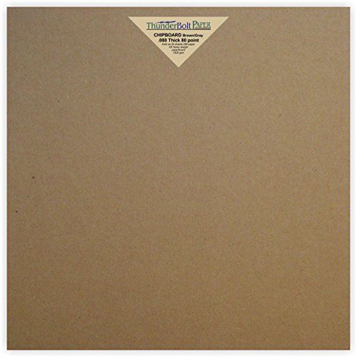 10 Sheets Brown Chipboard 80 Point Extra Thick 12 X 12 Inches Scrapbook Size .080 Caliper XX Heavy Cardboard as Thick as 20 Sheets of Regular (Thick Chipboard)