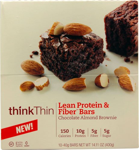 Think Products thinkThin Lean Protein & Fiber Bars Chocolate Almond Brownie -- 10 Bars
