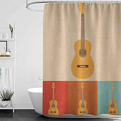homecoco Shower Curtains for Bathroom Japanese Guitar,Retro Icons Acoustic Guitars in Colorful Frames Nostalgic Music Stringed Instrument, Multicolor W69 x L72,Shower Curtain for Kids (Best Japanese Acoustic Guitars)
