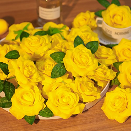 PARTY JOY Artificial Silk Rose Flower Heads Fabric Floral DIY For Wedding Home Flower Wall Decor,Pack of 10 (Yellow) ()