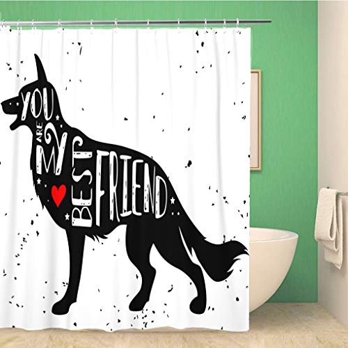 Awowee Bathroom Shower Curtain Hipster Typographic Dog Silhouette and Phrase You are My 66x72 inches Waterproof Bath Curtain Set with Hooks