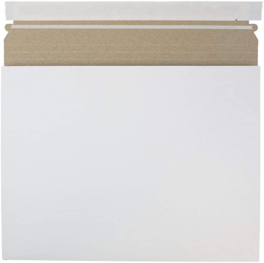 12 1//2 x 9 1//2 x 1 JAM PAPER Expandable Photo Mailer Envelopes with Peel /& Seal Closure White 6 Rigid Mailers//Pack