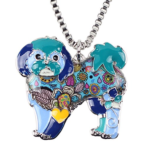 "BONSNY Signature DOG collection ""COCOA"" our SHIH TZU Yorkie TERRIER Puppy Dog Statement Women Pendant Necklace (Blue)"