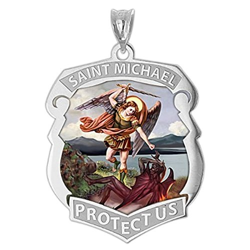 PicturesOnGold.com Saint Michael Badge - 1 Inch X 1-1/4 Inch - Sterling Silver WITH (Badge Pendant)