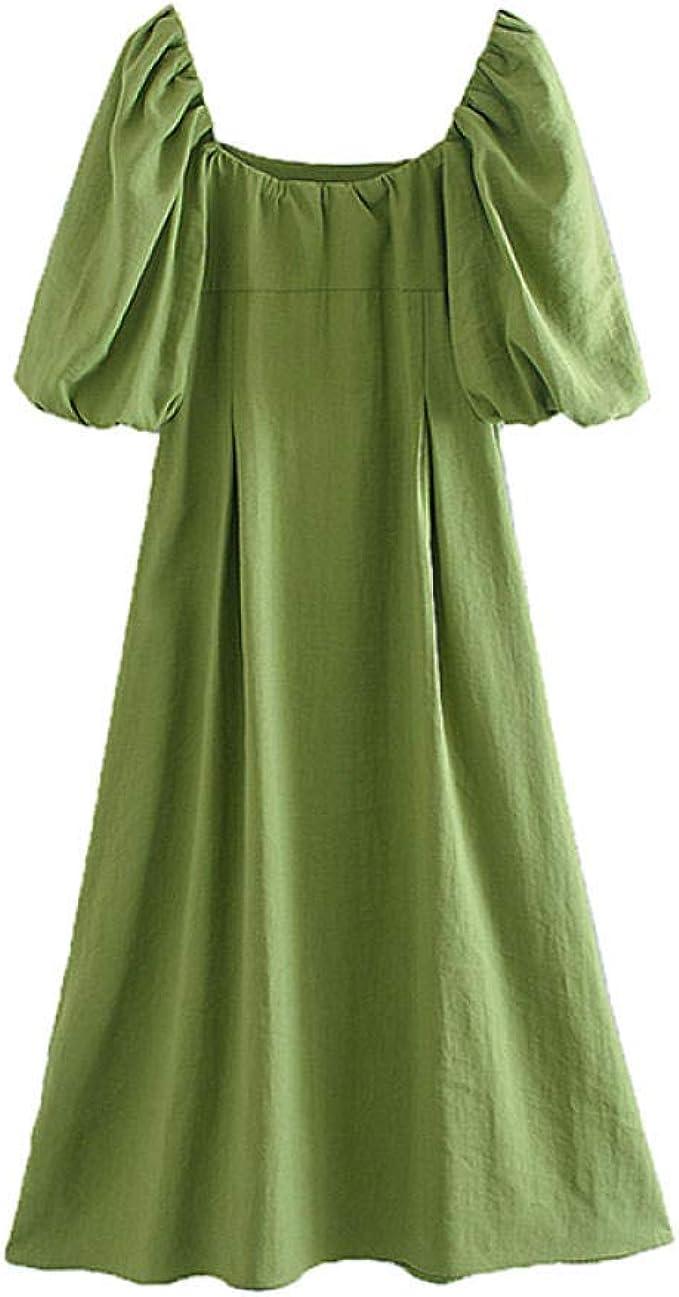 Kleider Für Damen,Maxikleid Sommerstrandkleid Grüner Plissee-Puff