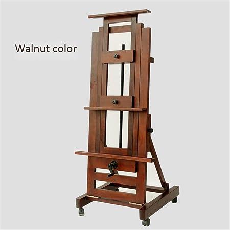 Huajia Material de pintura de caballete Esmalte rojo Pintado al óleo de madera Soporte de una mano Eje de balancín Gran caballete de madera maciza Pintor adulto Estudio profesional dedicado Gran eleva: