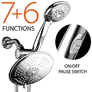 38-Setting 3-Way Rainfall Combo by DreamSpa features 6-setting 7-inch Rain Shower Head and 6-setting 4-inch Hand Shower with Patented ON/OFF Pause Switch. Use each shower separately or both together