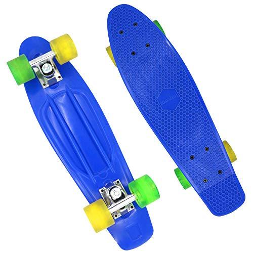 roadwi Mini Skateboard,Complete Pro Cruiser 22″ X 6.5″ in Blue