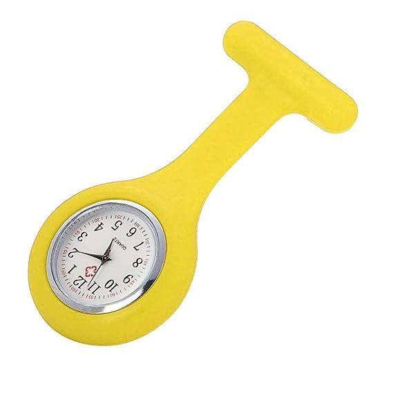 JiaMeng Reloj de la Enfermera de la Correa del Reloj de la túnica del Reloj de la Enfermera del silicón con la batería Libre Doctor médico(Amarillo): ...