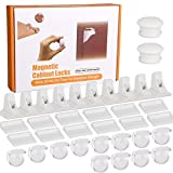 Baby Proofing Magnetic Drawer Locks(10 Locks + 2 Keys + 12 Safety Corner Protectors Guards) for Cabinets & Drawers Closet- No Tools Or Screws Needed