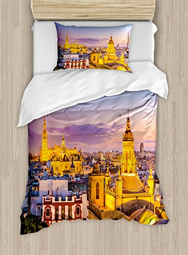Ambesonne European Duvet Cover Set Twin Size, City Skyline of Spain Ancient Mediterranean Touristic Historical Nostalgic Print, Decorative 2 Piece Bedding Set with 1 Pillow Sham, Multicolor by Ambesonne