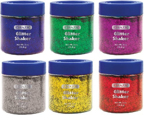 56.6g/2 oz. Primary Color Glitter Shaker with PDQ 144 pcs sku# 1773473MA by Bazic